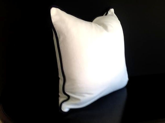 Off-White Velvet Throw Pillow Cover, White Cushion Cover with Black Piping