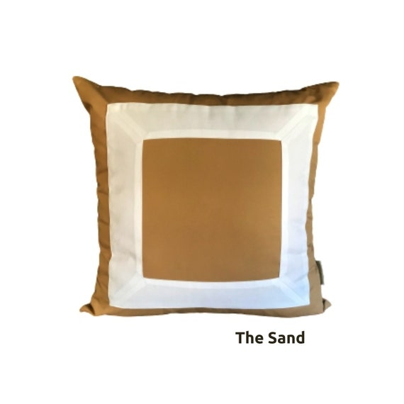 Camel Beige Square Pillow Cover, Geometric Beige With White Pillow