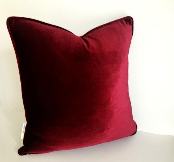 Burgundy Velvet Pillow Cover, Burgundy Velvet Cushion Cover, Free Shipping