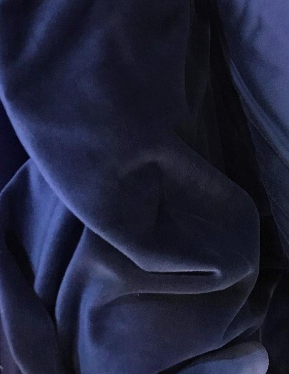 Navy Blue Velvet Plush Fabric By the Yard,  Midnight Blue Velvet Material