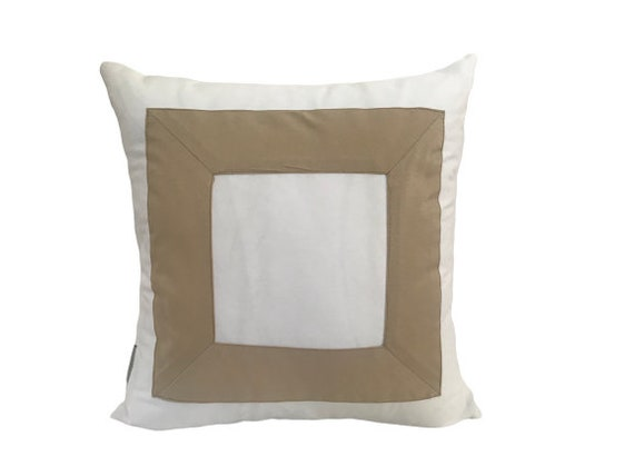 White With Beige Square Pillow Cover, White Cushion Cover with Beige Square Design
