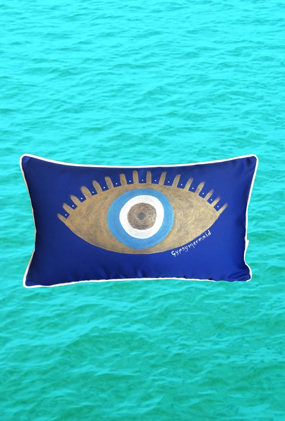 Cobalt Hand Painted Evil Eye Pillow Cover,  Royal Blue Evil Eye Pillow, Free Shipping