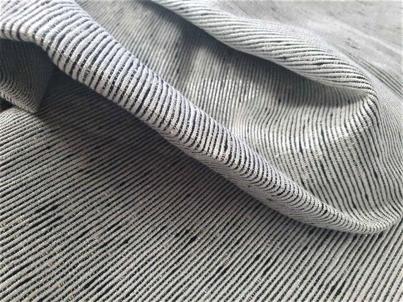 OFFER FABRICS! Pure Silk Striped Fabric, Black and Silver Fabric