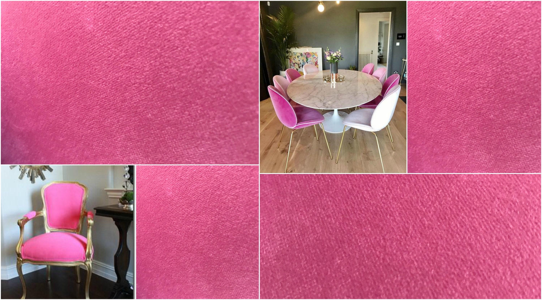 Velvet Upholstery Fabric In Fuchsia Pink Candy Pink Velvet Width 54