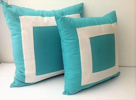 Square Blue Aqua Pillow Cover With White Border