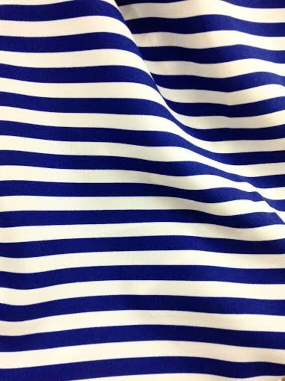 """Striped Blue and White Fabric By The Yard, Width 55"""", Sold By the Yard, Home Decor Materials, Stripes"""