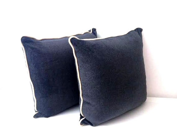 HURRY OFFER! Charcoal Grey Velvet Throw Pillow Cover with Ivory Trim