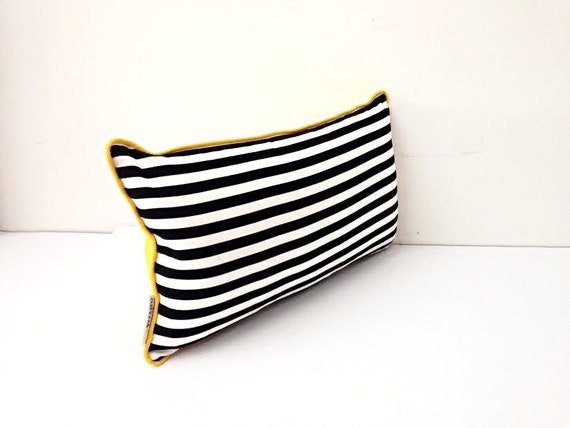 Black and White Stripes Pillow, Striped Black and White Cushion, Free Shipping