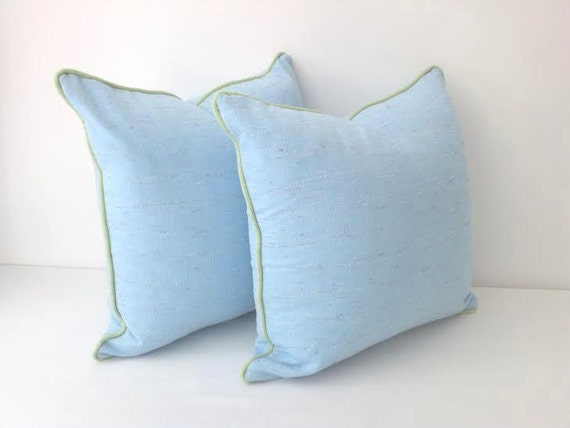Baby Blue Twill Throw Pillow Cover Blue
