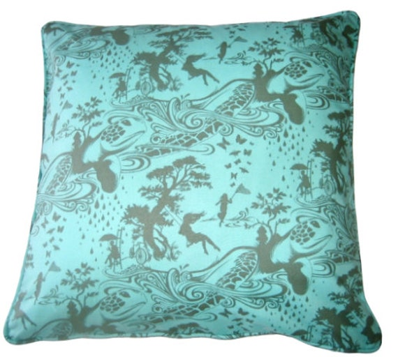 OFFER HURRY! DISCOUNT 50%, Throw Pillow Cover, Aqua Swinging Girl Design, Home Accent