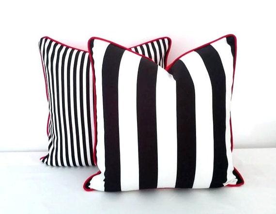 Black and White Striped Throw Pillow