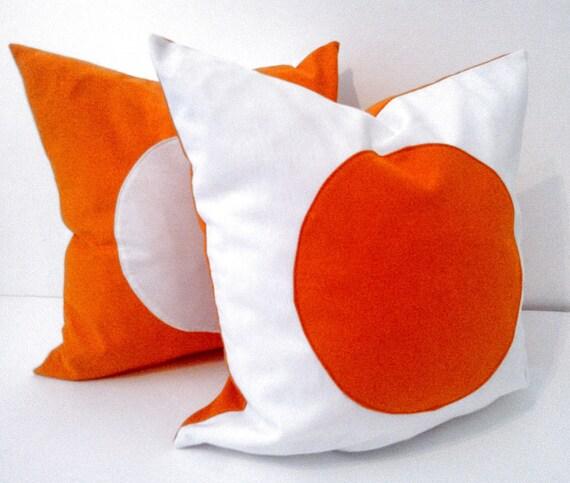 White Throw Pillow Cover With Orange Circle, Geometric Orange  and White Cushion, Free Shipping