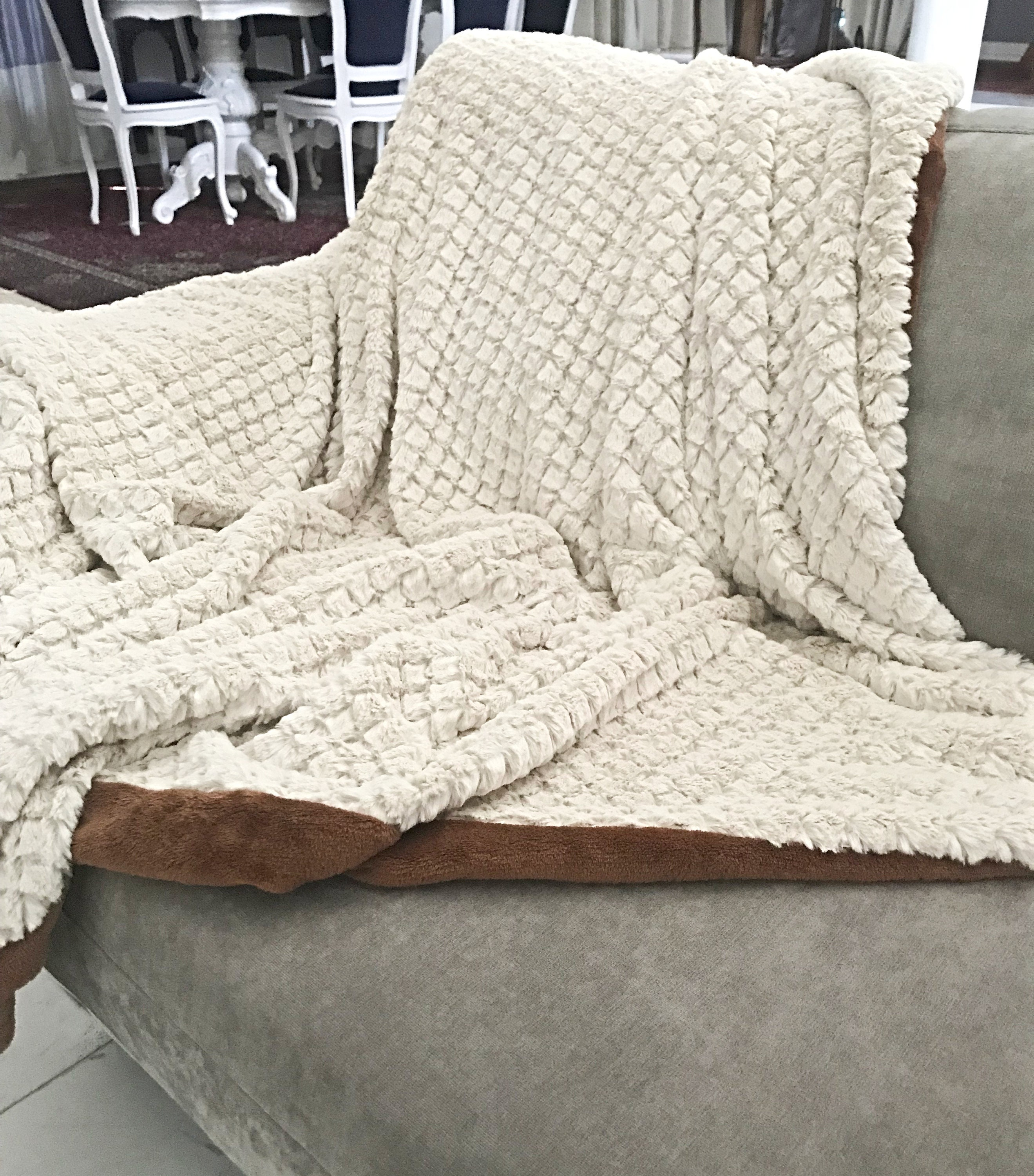 Faux Fur Throw in Off White with Camel Back, Large Throw for ...
