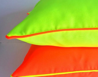 Orange Neon Pillow Cover, Fluorescent Orange Cover with Yellow Piping, Free Shipping