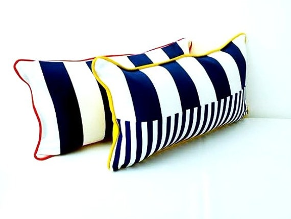 Nautical Style Stripes Pillow Cover,  Beach Style Cushion