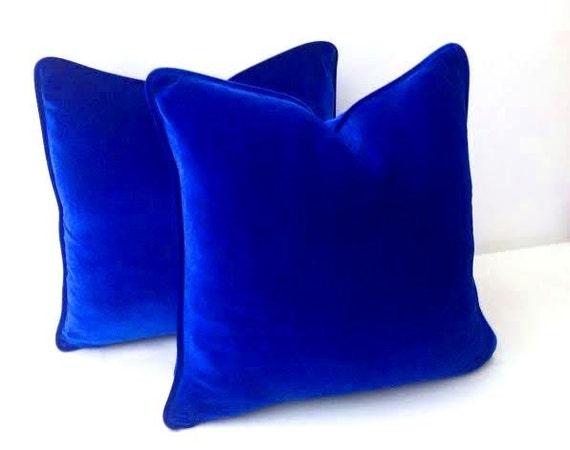 Blue Velvet Pillow Cover Blue Throw