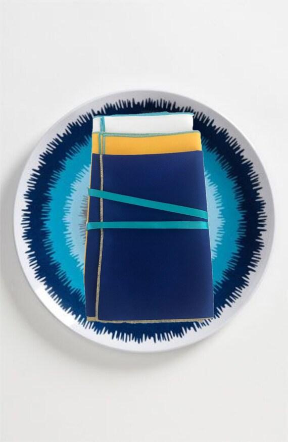 Set Oxford Blue Fabric Napkins/Table Mats, Blue Gabardine Handmade Napkins and Table Mats