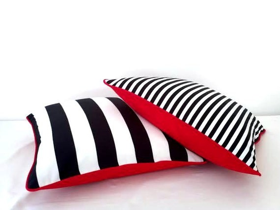 Black and White Striped Throw Pillow Cover, Narrow Black and White Stripes Cushion