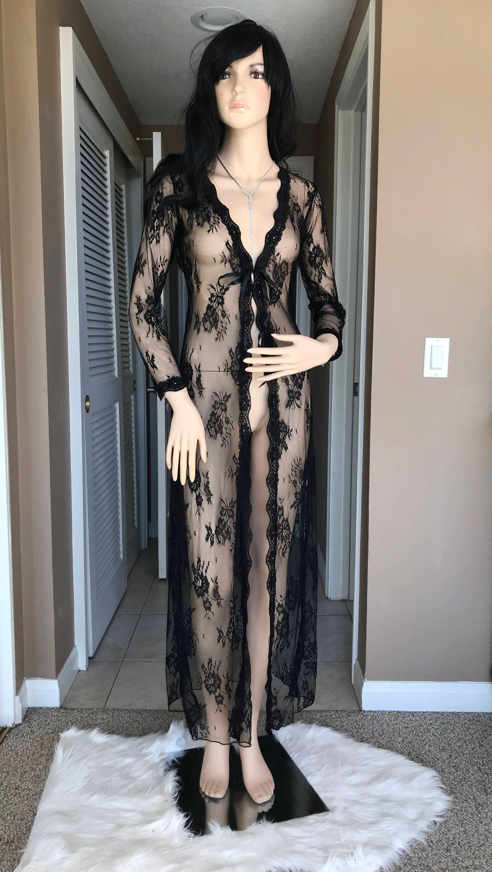 Black Lace Braut Nachthemd voller lange Ärmel Hochzeit Dessous