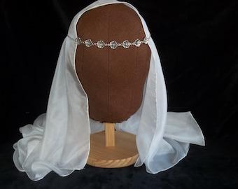 Gorgeous Medieval Women's Translucent Pure Silk VEIL LARP SCA Re-enactment Cosplay