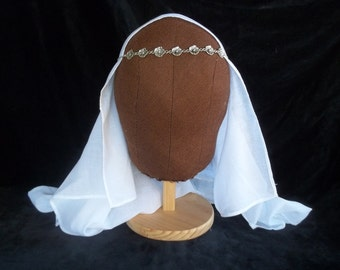 Medieval Women's Fine Cotton Muslin VEIL LARP SCA Re-enactment Cosplay Feast