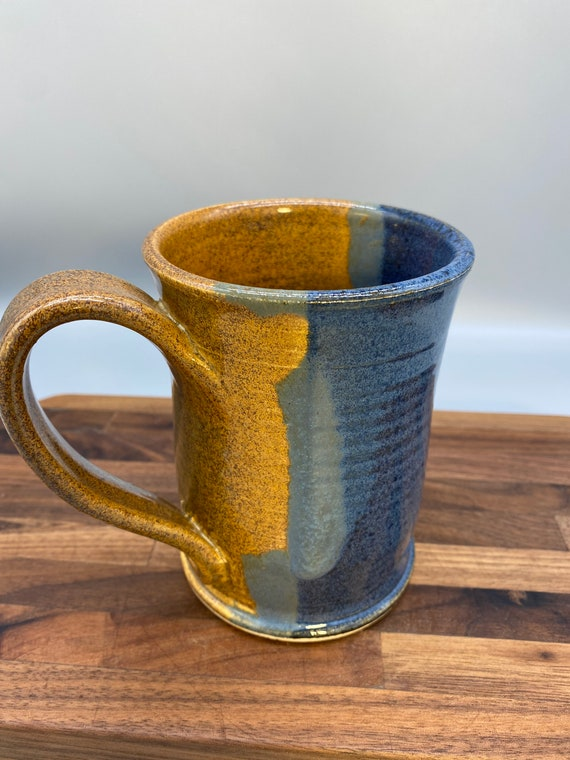 12oz blue brown mug
