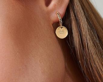 Hoop Earrings With Charm, Black Onyx Hoops, Onyx Earrings, Lucky Charm Hoop Earrings, Disc Charm Earrings, Evil Eye Charm, Huggie Earrings