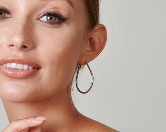 Silver Oval Hoop Earrings, Teardrop Hoops Earrings, Silver Large Hoop Earrings, Birthday Gifts For Her, Simple Modern Hoop Earrings
