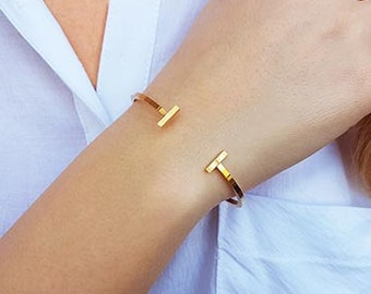 Bar cuff bracelet, Gold cuff bracelet, T bracelet, Stacking bracelet, Open bangle bracelet, Skinny cuff, Adjustable cuff, Minimalist jewelry