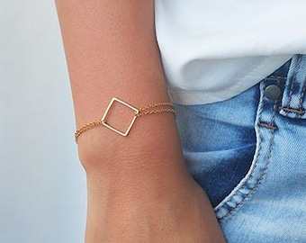 Gold square bracelet, Delicate bracelet, Simple gold bracelet, Everyday bracelet, Geometric bracelet, Gold jewelry, Birthday gifts