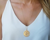 Gold Long Necklace, Gold Coin Necklace, Coin Pendant Necklace, Layered Necklace, Medallion Necklace, Everyday Necklace, Gold Necklace
