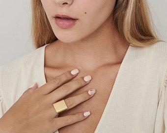 square ring solid gold ring geometric ring silver square ring 10k gold ring 14k gold ring minimalist ring simple square ring big SQUARE RING