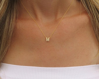 afc49a9bacf2 Tiny Gold Initial Necklace