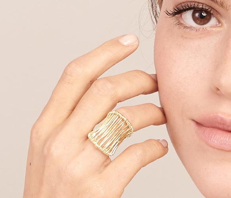 Dainty Open Ring Big Rings Rings For Women Mesh Ring Gold Statement Ring Classic Ring Fashion Ring Vintage Rings Adjustable Ring