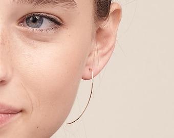 Gold Arc Ear Threaders, Open Hoop Earrings, Threader Earrings, Minimal 14K Gold Filled Hoop Earrings, Earrings For Women, Thin Open Hoops