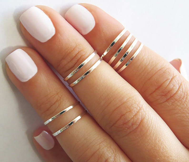 8 Above The Knuckle Rings  Silver Stacking Ring Knuckle image 0