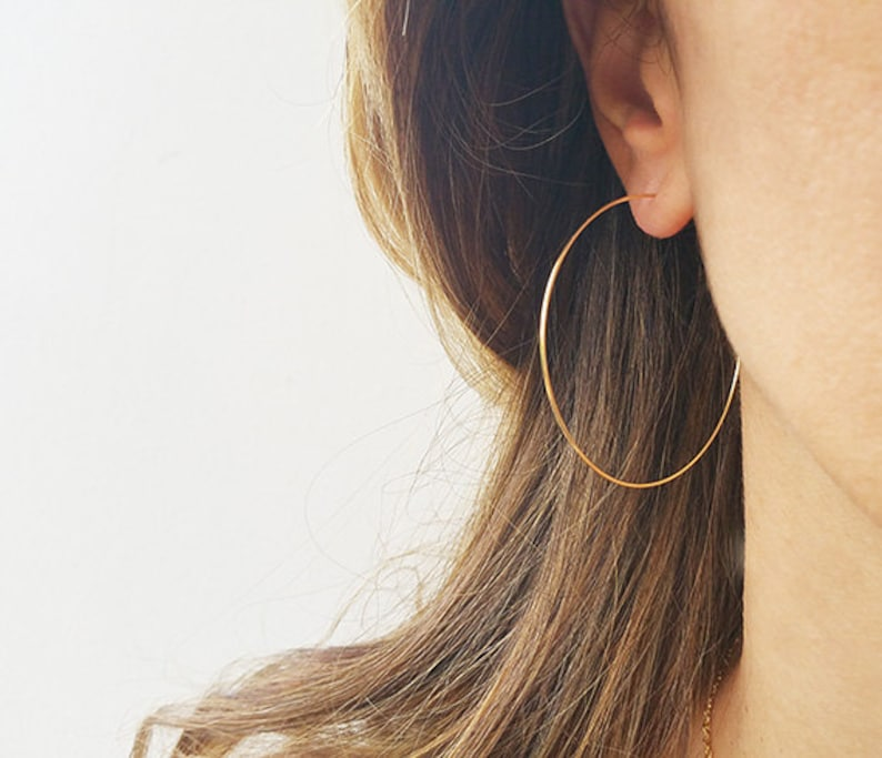 Gold Hoops Earrings Big Wire Earrings 14K Gold Filled Hoops image 0