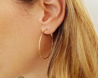 """Classic Gold Hoops, Gold Large Hoop Earrings, Modern Wire Earrings, 14K Gold Filled Hoops, High Quality Hoops, 1.5"""" Simple Hoop Earrings"""