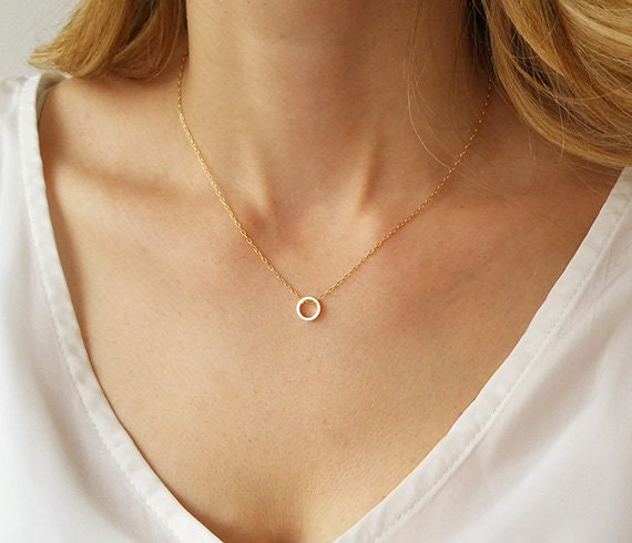 GoldenBeverly Karma Necklace Simple Geometric Necklace Minimal Circle Outline Necklace Personalized Jewelry Dainty Circle Necklace