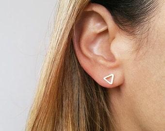 Triangle stud earrings, Simple gold earrings, Post earrings, Small earrings, Dainty earrings, Geometric earrings, Minimalist earrings