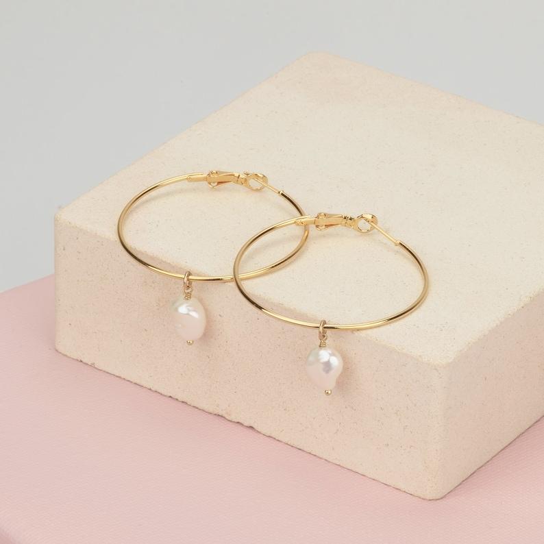 Baroque Pearl Earrings 14K Gold Filled Hoops Birthday Gifts for Her 1.5 Simple Hoop Earrings Freshwater Pearl Hoop Earrings