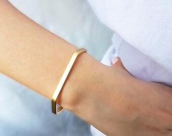 Gold cuff bracelet, Minimalist gold bracelet, Stacking cuff, Gold bangle bracelet, Skinny bracelet, Band bracelet, Everyday bracelet