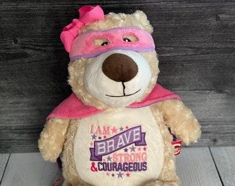 Baby Keepsake Cancer Personlaized Bear,Embroidered Stuffed Animal Baby Stats Bear Cancer Bear Personalized Bear Girl super hero Bear