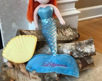 Rag Doll Mermaid, Little Mermaid Doll, Rag Doll, Girl Rag Doll, Personalized Rag Doll, Personalized Plush Doll