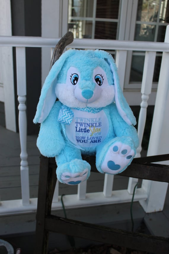 Birth Stat Bunny Unique Baby Gift Gender Reveal Embroidered Bunny, Birth Announcement Little Elska,Plush Bunny Baby Keepsake