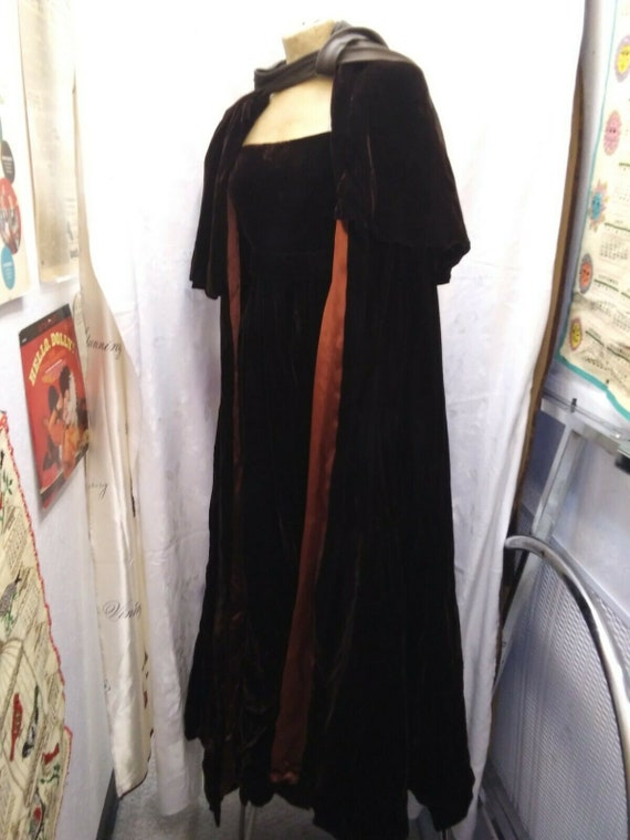 1960s Brown Rayon Velvet Couture Dress and Cape Lo