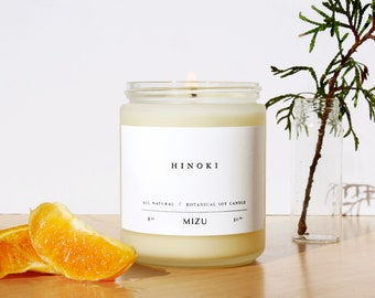 HINOKI Essential Oil Candle | ALL NATURAL Soy Candle | Personalized Gift Wrap | Sustainable Source |  Scents for Meditation