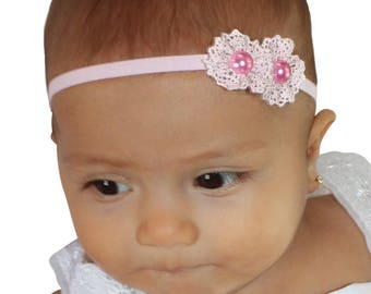 Pink Baby Headband, Pink Headband, Baby Headband, Newborn Headband, Baby Girl Headband, Infant Headband, Flower Headband, Toddler Headband