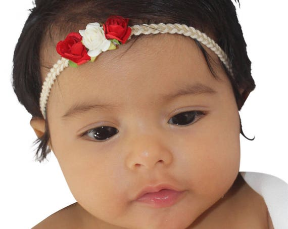 Red Baby Headband, Infant Headbands, Red Headband, Ivory Baby Headband, Flowers Headband, Baby Accessories, Baby Headband Red