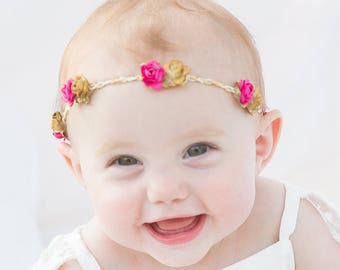 Gold Headband, Pink Baby Headband, Flowers Crown, Gold Leaf Headband, Paper Flowers Headband, Girls Headband Flowers, Pink Headband